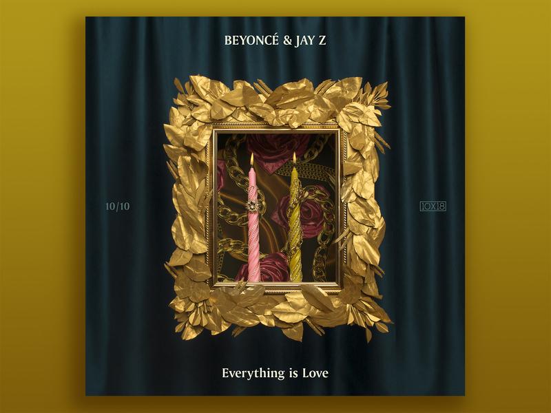 10x18  No. 10   Beyoncé & Jay-Z — Everything Is Love album artwork album cover album art gold beyonce jay-z louvre art direction candle prop design photography illustration set design photographic design 10x18