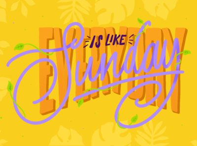 Evereyday is like sunday letters caligraphy photoshop vector illustration music lettering