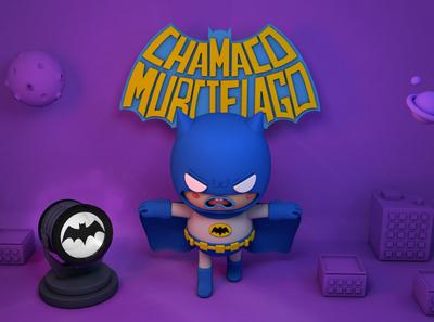 Chamaco murcielago batman illustrations lettering design cinema4d character c4d 3d photoshop illustration