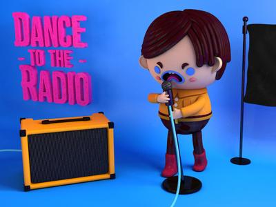 Dance to the Radio illustrator illustration cinema 4d music character design illustrations character c4d cinema4d photoshop ian curtis 3d joy division