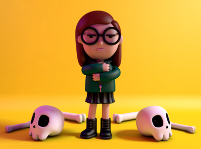 Daria Morgendorffer characterdesign c4dart render 90 cartoons cartoon character design c4d character cinema4d 90s sicksadworld dariamtv mtv daria
