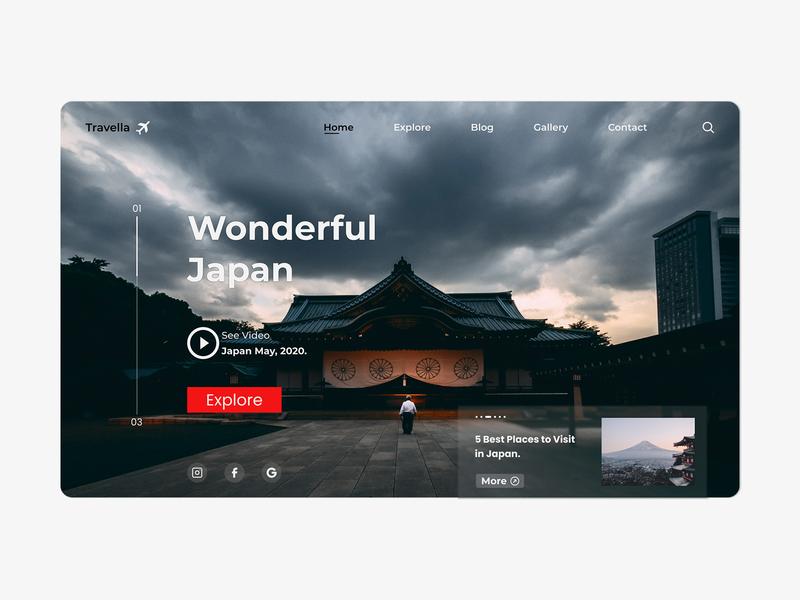 Landing Page v2 for travelling webiste figma branding animation adobexd website web ux typography minimal identity flat design