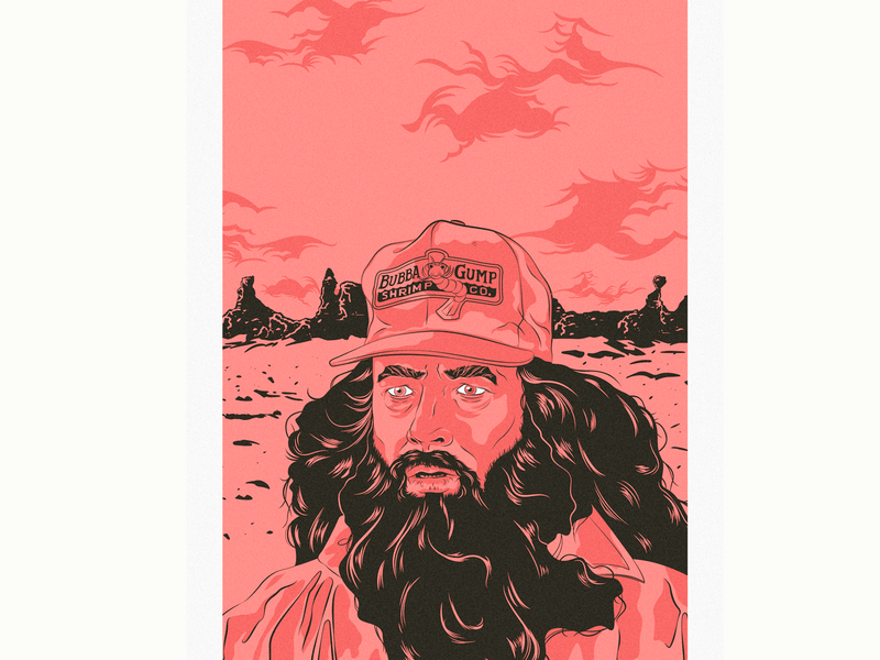 Forrest film poster movies digital illustration shrimp bubba gump tom hanks forrest gump adobe illustrator vector wacom intuos design illustration