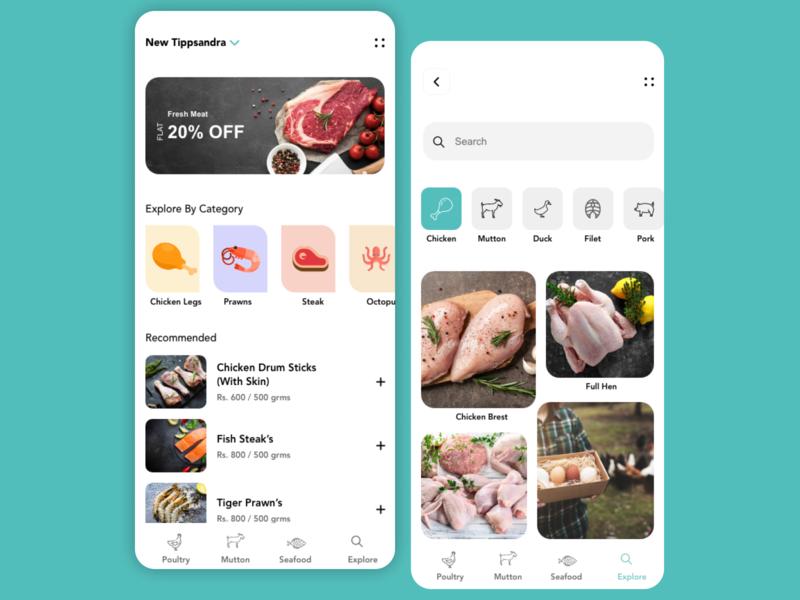 Meat ordering  app design ui minimal apps pc mobile designers design app ui  ux designer design