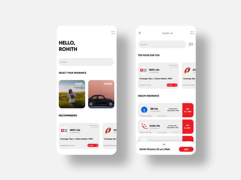 Insurance App Design mobile design app minimal designer visual design uidesign interface uiux ui insurance company insurance app insurance