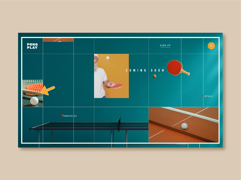 Pingpong ping pong structure lines logo vintage sports playful typography grid color web