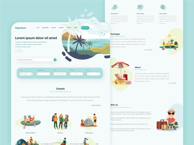 Resort website UI illustration hotel explore design vacation illustration holiday resort travel web ux ui