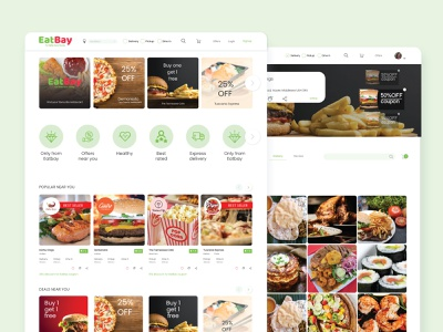 Online food store website food app online shop food explore ux ui design