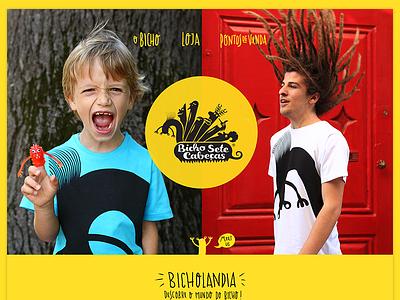 Bicho Sete Cabeças hand font store website header yellow