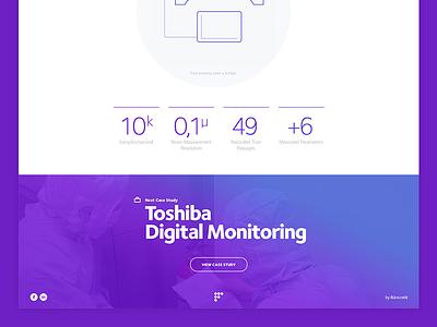 Footer case study statistics purple gradient photo ui website footer