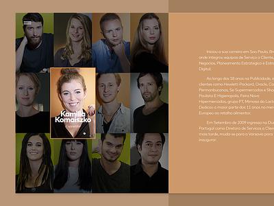 Team Section burguer ui layout split team website