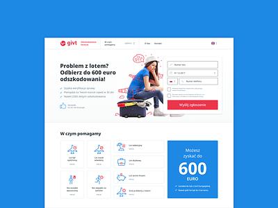 Givt - helps you claim your flight rights claims flights design website design layout grid web website web design