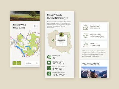 Polish National Parks - maps mobile web design website polish national parks park forest icons map