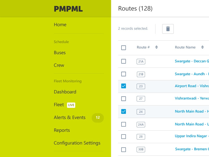 Records View in List & Map web layout application list