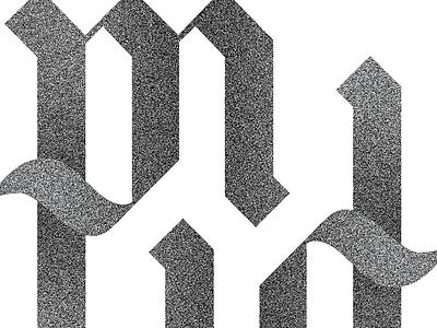 Ligature initials pm ligature grain calligraphy