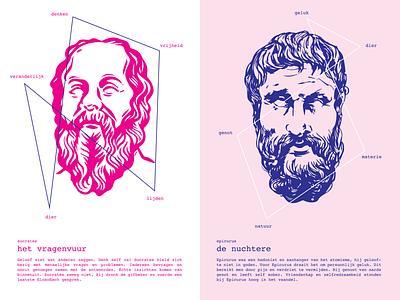 Philosophes design visual epicurus socrates philosophes