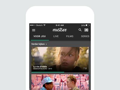 Mustsee app uxd design material series tv live chromecast vod app