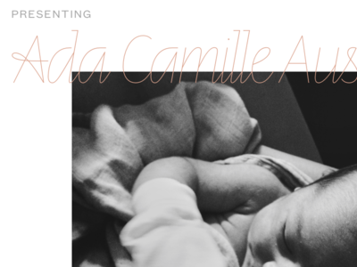 Ada Camille klim letters from sweden line founders grotesk text birth announcement daughter