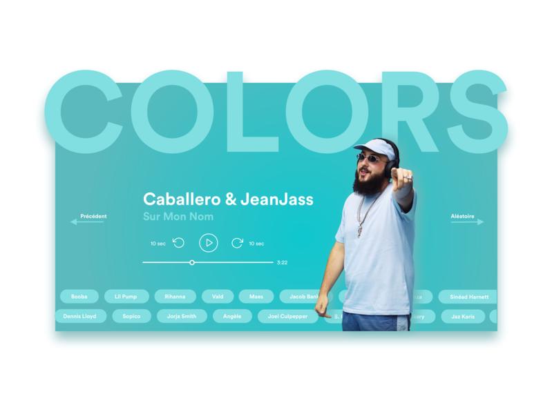 Colors Landing Page - Audio Player music shot blue young rapper rap redesign ux ui colors landing page audio player
