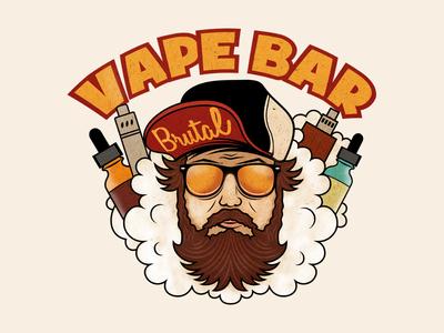 Brutal Vape Bar logo man beard eliquid brutal mechmod boxmod ejuice vaper vaping vape vapebar