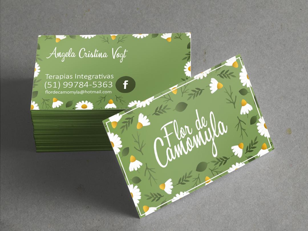 Flor de Camomyla - Business Card cartão de visita design ilustração desenhar