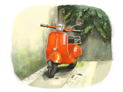A little piece of Italy print art cartoon sketch painting drawing red illustration summer italy scooter motobike vespa