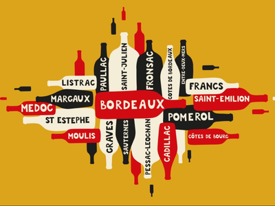 Bordeaux Wine alcohol event tasting bordeaux wine provenance grand cru brand hand drawn wine tourism banner graphic explosion magnum bottle white red appellation poster business wine