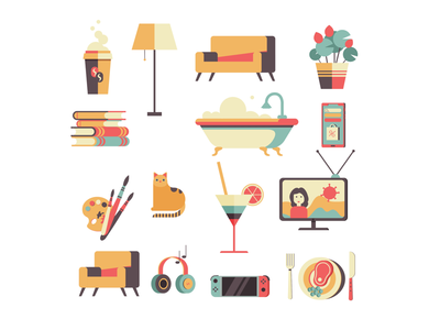 While at home... drink food books ui 2d video game flower news coronavirus tv music cat coffee editorial quarantine home icon graphic design logo illustration