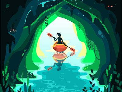 Cave and canoe nature illustration adventure vacation editorial kayak water discovery travel tourism woman paddle 2d nature sport river girl illustration vector cave canoe