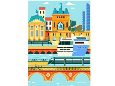 Bordeaux city branding river bridge france monument sightseeing travel tourism graphicdesign unesco bookcover wine building design illustration editorial vector poster city