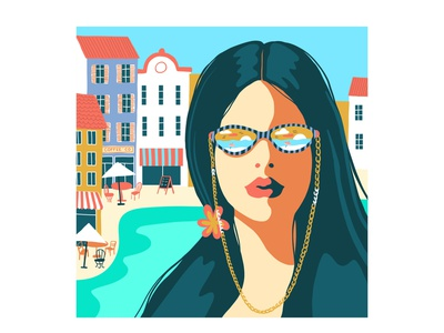 Chic Girl poster design tourism website seaside city design fashion travel holiday vacation drawing adventure tourism summer icon girl vector poster editorial event illustration