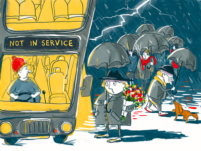 Bad luck sketch character design autumn night crowd umbrella drawing cartoon date bus stop bus book cover thunder illustration editorial