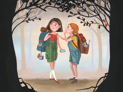 Going hiking dusk forest cute hiking equipment book illustration cartoon scared creepy courage adventure hiking friends girls ipad pro character drawing procreate