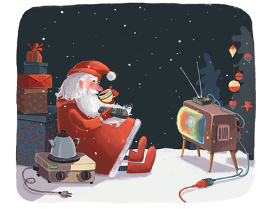Father Christmas stops for a break... christmas card vintage ipad pro digital illustration celebration event frost television funny winter night magic fairy book drawing cartoon character december illustration christmas