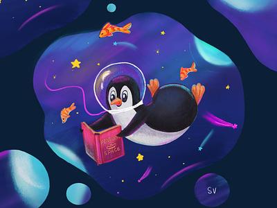 Penguin in Space детскаяиллюстрация книжная иллюстрация персонаж character illustration cute art book illustration character design characterdesign bookcover procreate art penguin animal cute illustration illustration characterart art