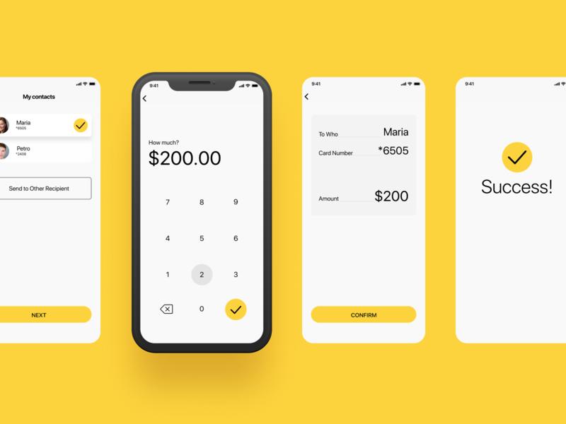 Transfers mobile app transfer money transfers yellow mobile app ios mobile ui