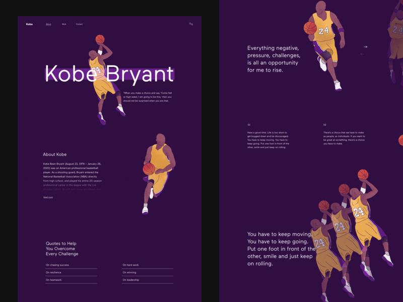 Kobe landingpage landing nba kobe kobebryant website design website typography web webdesign digitalart ui minimalism clean digitalillustration design digital art illustration