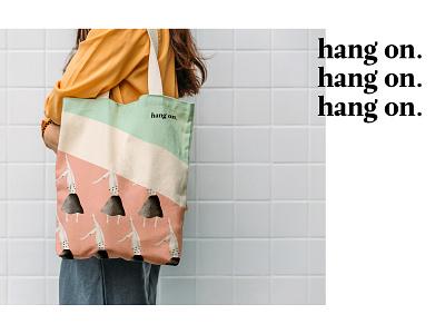 hang on. bag bag design branding pattern minimalism clean digital art digitalillustration design illustration