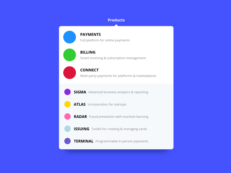 Stripe Menu Dropdown (CSS)