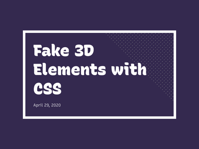 Fake 3D Elements with CSS design box-shadow css3 demo depth shadow 3d html codepen css