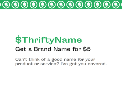 Introducing ThriftyName design service brand identity brand design brand html css