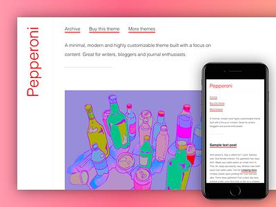 Tumblr Theme: Pepperoni brutalist minimal design free blog pepperoni responsive template web design theme tumblr theme tumblr
