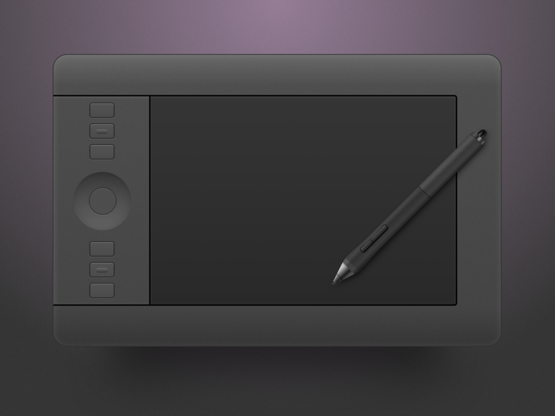 Wacom Tablet illustrator symbol skeuomorphic gradient device illustration drawing pen sketch artboard icon tablet wacom