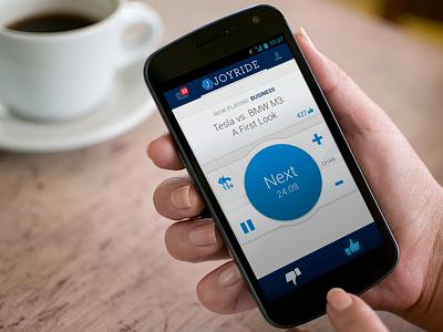 Joyride Android Music App v1 android music app mobile google blue flat gray ui design