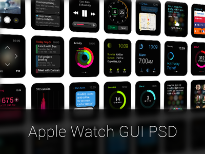 Apple Watch GUI PSD  psd resources freebies apple ios watch gui ios8 free template