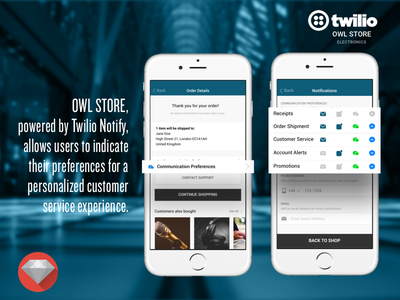 eCommerce Mobile App Showcasing Twilio Notify store shop commerce mobile twilio notify enterprise app