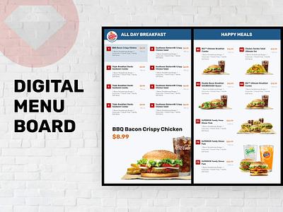 Digital Menu Board Design for Fastfood Drive Through animation consumer fastfood food menu digitalsignage
