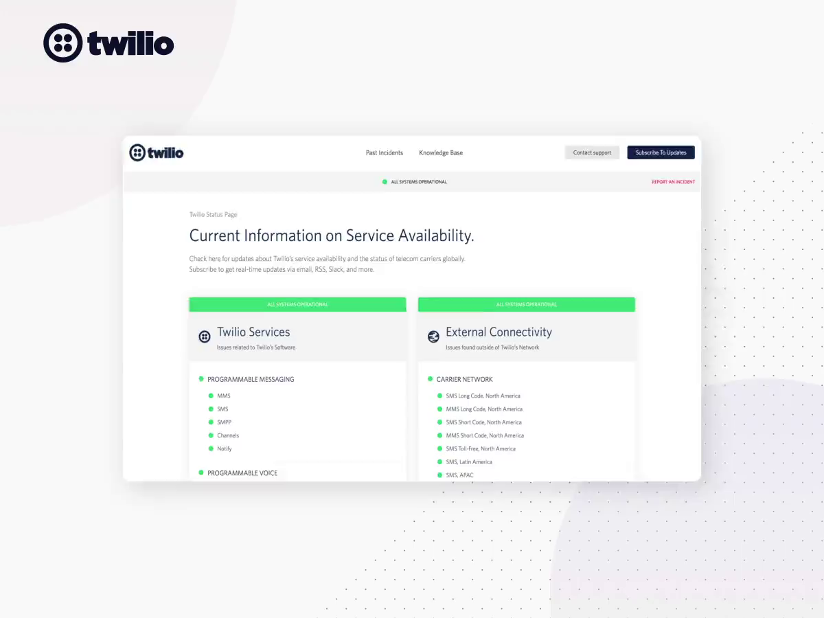 Twilio Status Page Design by impekable | Dribbble | Dribbble