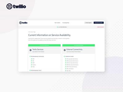 Twilio Status Page Design api communications cpaas web design services webdesign statuspage ux ui animation