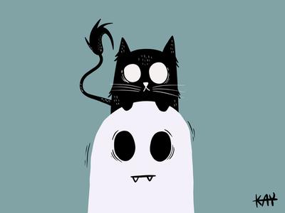 Head scratcher animals cute procreate brush cats cat illustration design illustrator procreate art procreate app ghost procreate app vector illustration design
